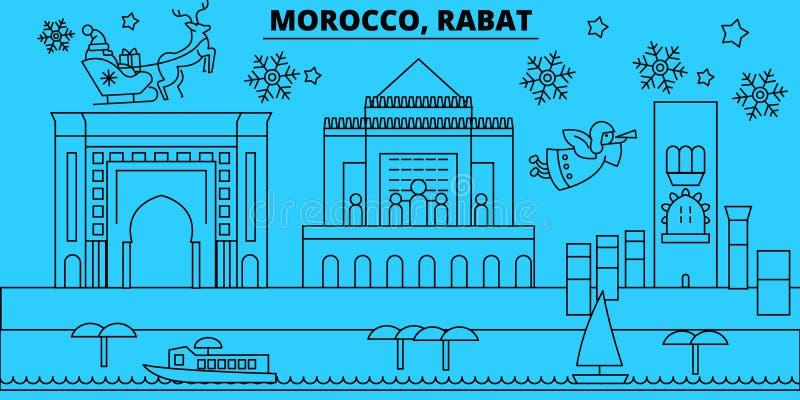 Skyline dos feriados de inverno de Marrocos, Rabat O Feliz Natal, ano novo feliz decorou a bandeira com Santa Claus Marrocos, qua ilustração stock