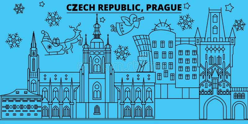Skyline dos feriados de inverno de República Checa, Praga O Feliz Natal, ano novo feliz decorou a bandeira com Santa Claus czech ilustração do vetor