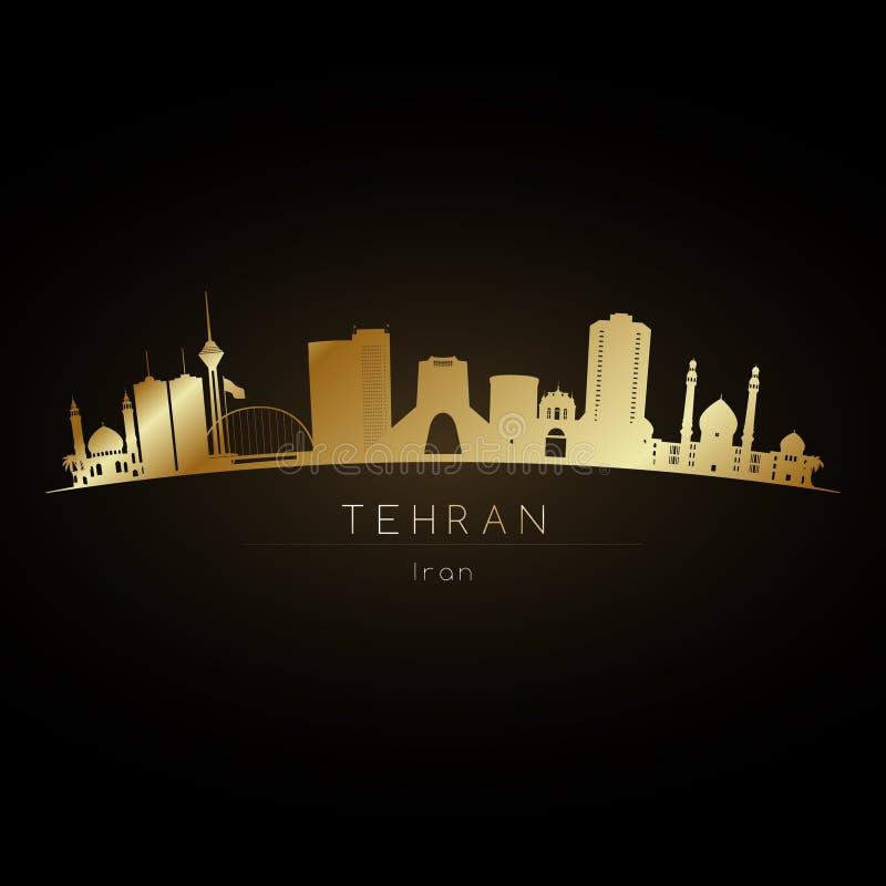 Skyline dourada da cidade de Tehran UAE do logotipo ilustração royalty free