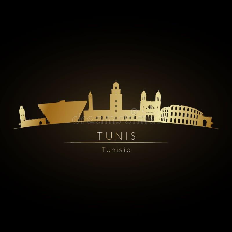 Skyline dourada da cidade de Tunes do logotipo ilustração stock