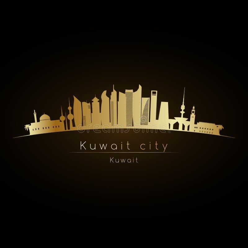 Skyline dourada da Cidade do Kuwait do logotipo ilustração royalty free