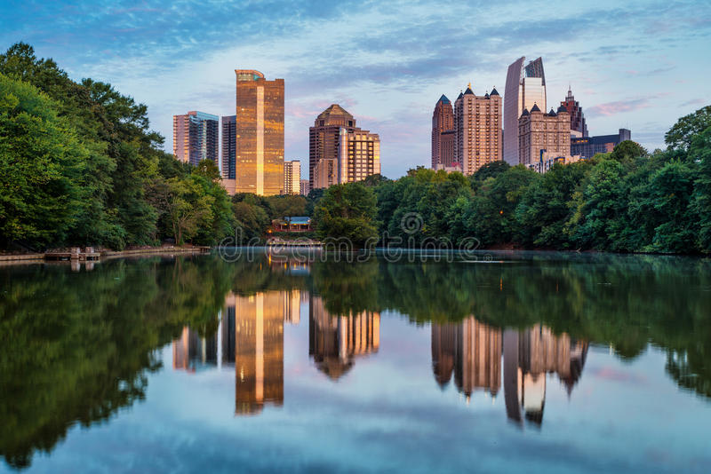 Skyline of downtown Atlanta, Georgia stock photos