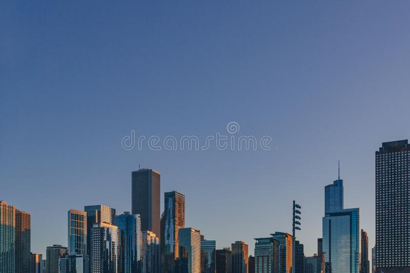 Skyline of downtown Chicago, USA at dusk viewed from Lake Michigan royalty free stock photo