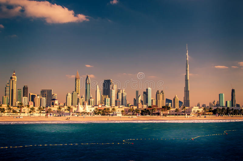 Skyline Downtown in Dubai, United Arab Emirates. United Arab Emirates, UAE: Downtown of Dubai in the sunset stock photo