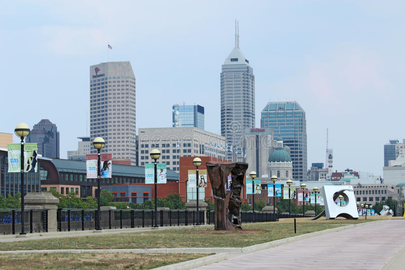 The skyline of downtown Indianapolis, Indiana. Skyline view of downtown Indianapolis, Indiana, on September 3, 2011. The city will be the host for Super Bowl stock photography