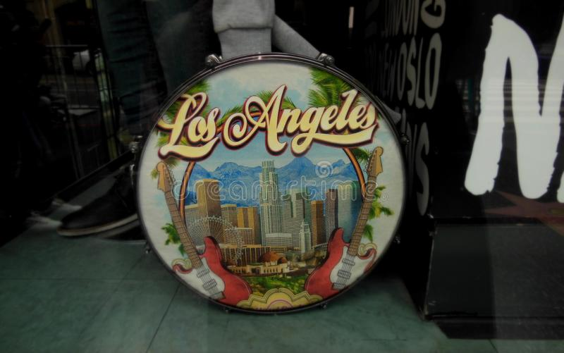 Skyline of Los Angeles Painted on a Drum stock images