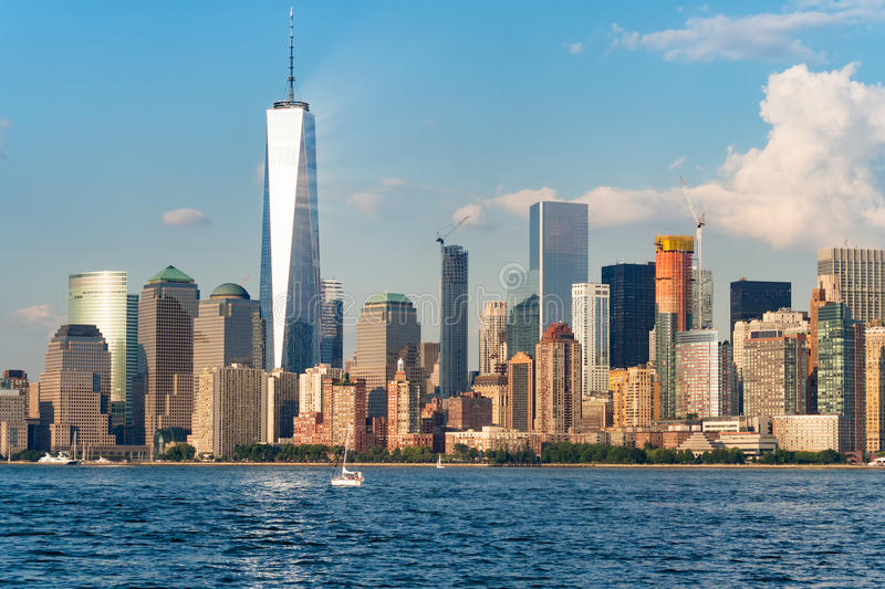 The skyline of downtown Manhattan in New York City stock photo