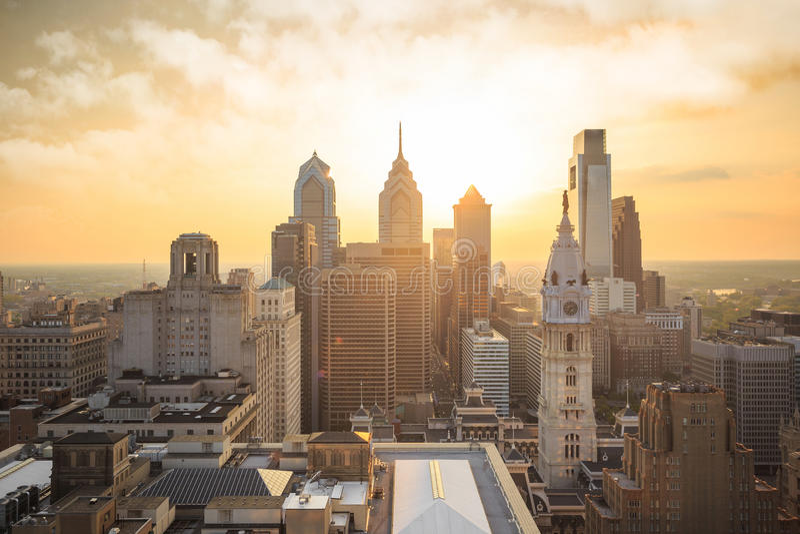 Skyline of downtown Philadelphia royalty free stock photography