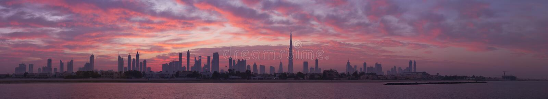Skyline Dubai, before sunrise stock photos