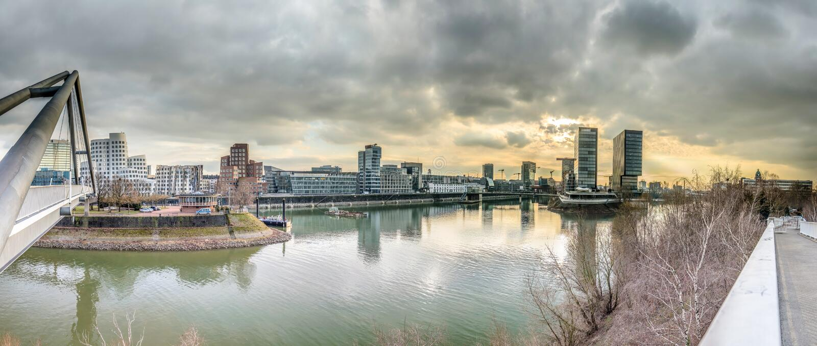 Skyline of Duesseldorf during sunset. Skyline of Duesseldorf in Germany stock photos