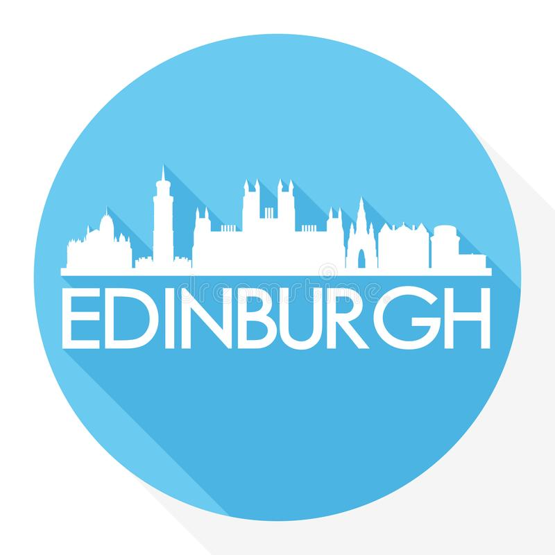 Edinburgh Scotland Round Icon Vector Art Flat Shadow Design Skyline City Silhouette Template Logo royalty free illustration