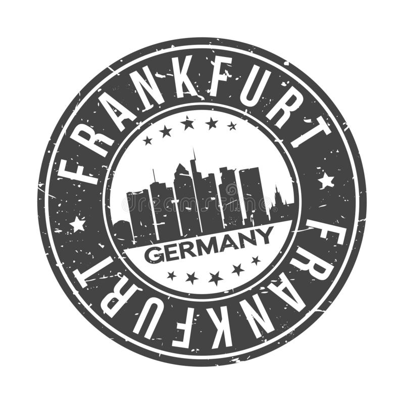 Frankfurt Germany Europe Round Button City Skyline Design Stamp Vector Travel Tourism. Skyline with emblematic Buildings and Monuments of this famous city royalty free illustration