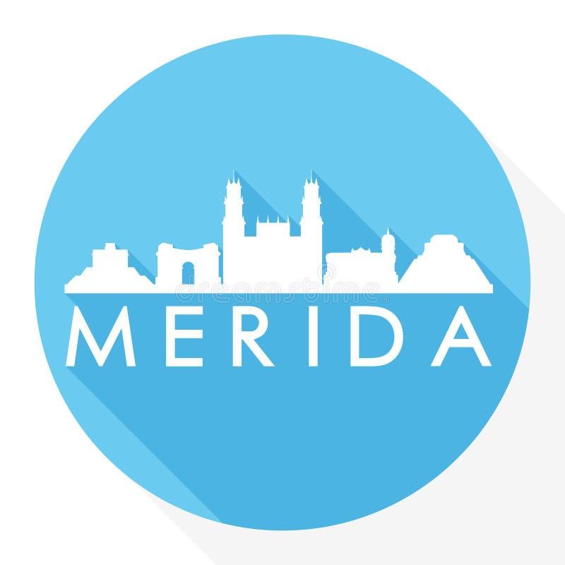 Merida Mexico America Round Icon Vector Art Flat Shadow Design Skyline City Silhouette Template Logo stock illustration