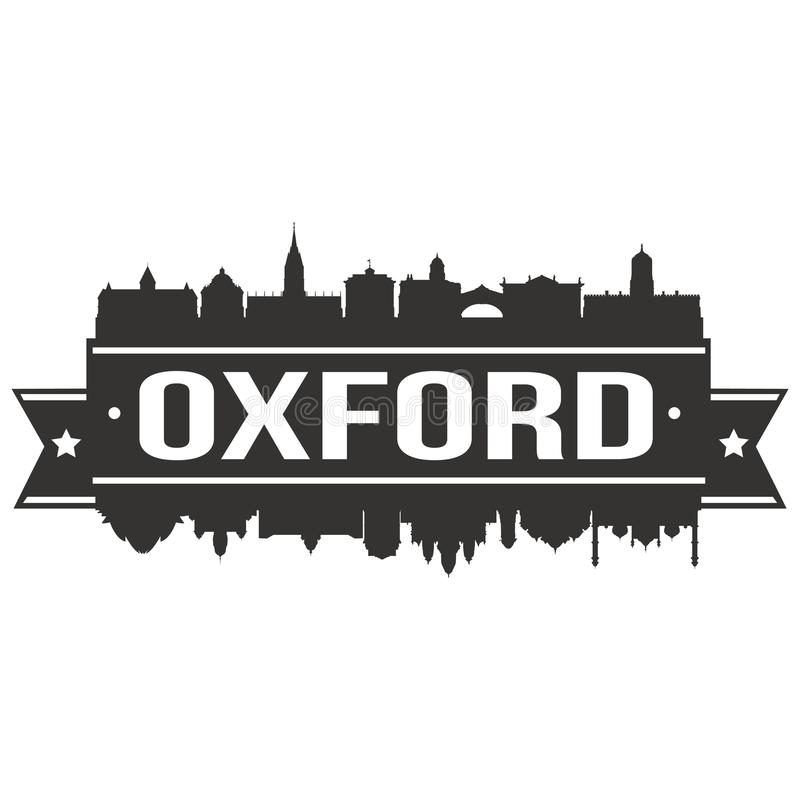 Oxford England Round Icon Vector Art Flat Shadow Design Skyline City Silhouette Template Logo. Skyline with emblematic Buildings and Monuments of this famous royalty free illustration