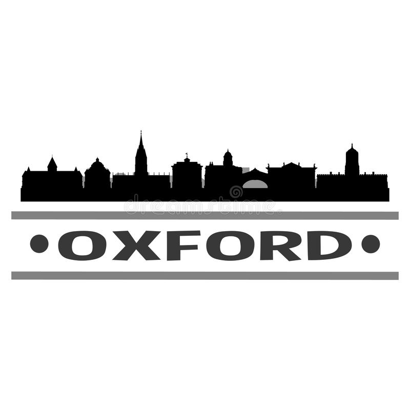 Oxford England United Kingdom Round Icon Vector Art Flat Shadow Design Skyline City Silhouette Template Logo. Skyline with emblematic Buildings and Monuments of vector illustration