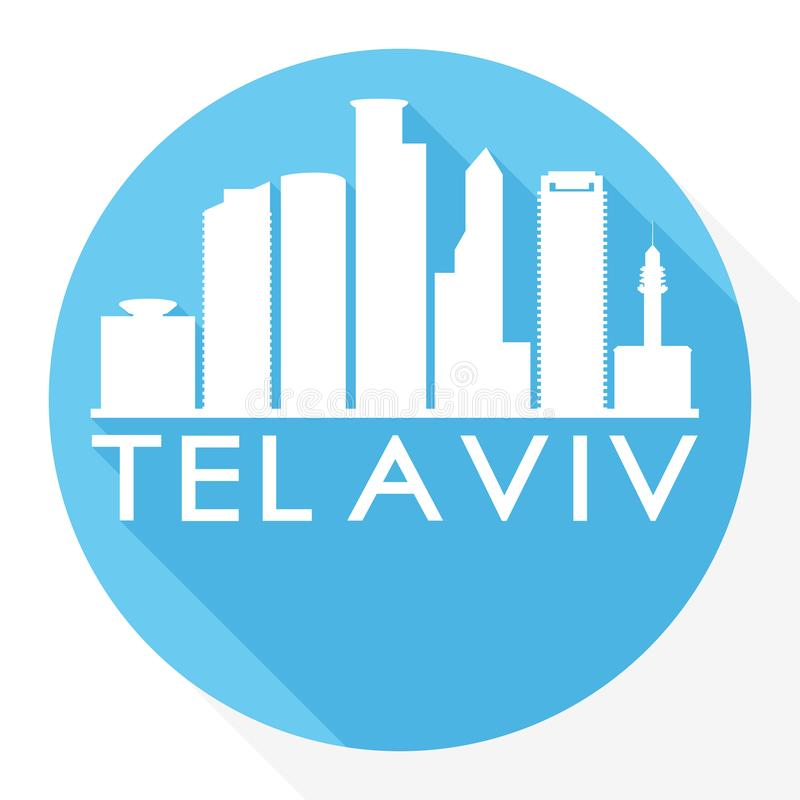 Tel Aviv Israel Round Icon Vector Art Flat Shadow Design Skyline City Silhouette Template Logo stock illustration