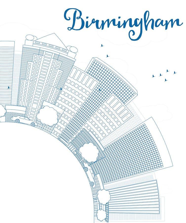 Skyline Entwurfs-Birminghams (Alabama) mit blauen Gebäuden vektor abbildung