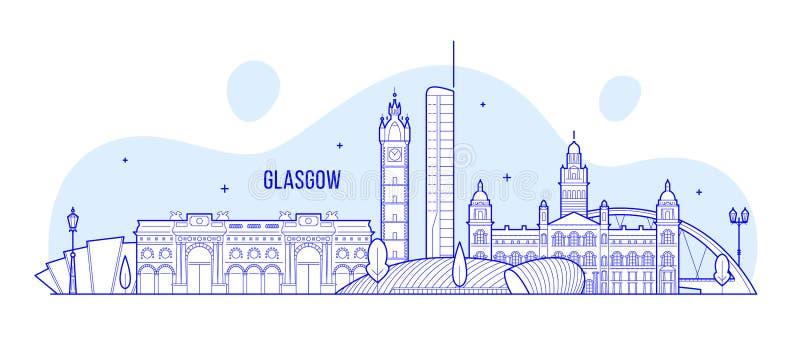 Skyline Escócia de Glasgow, vetor BRITÂNICO das construções da cidade ilustração royalty free