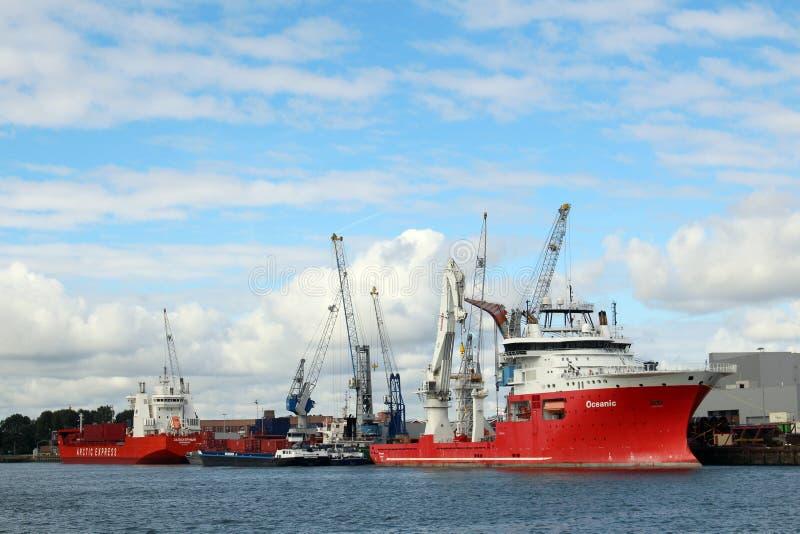 Skyline et port de Rotterdam Pays-Bas photo libre de droits