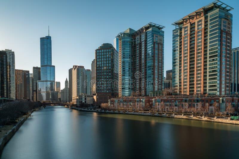 Skyline EUA de CHICAGO IL fotografia de stock