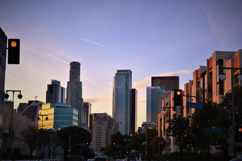 Skyline excitante de Los Angeles fotografia de stock royalty free