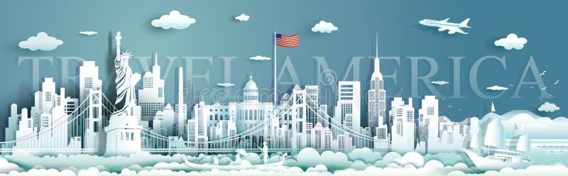 Skyline famosa da arquitetura do monumento do Estados Unidos da América dos marcos da excursão ilustração stock