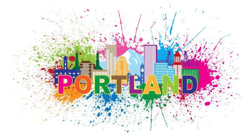Skyline-Farbe Portlands Oregon plätschern Vektor-Illustration lizenzfreie abbildung