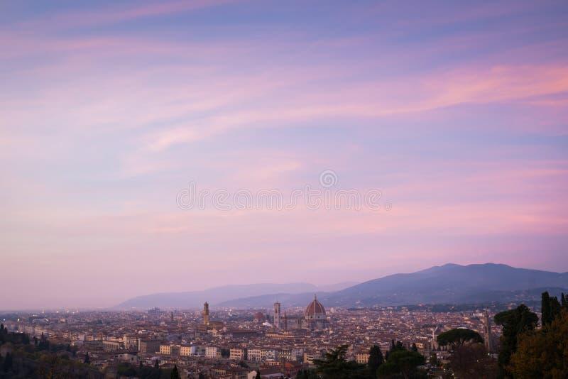 Skyline Florença do por do sol fotos de stock royalty free