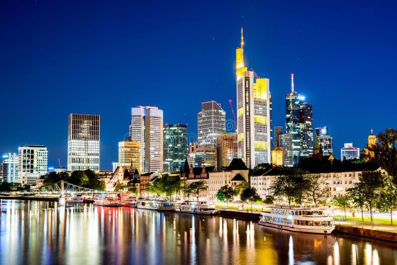 Skyline of Frankfurt at night royalty free stock photos
