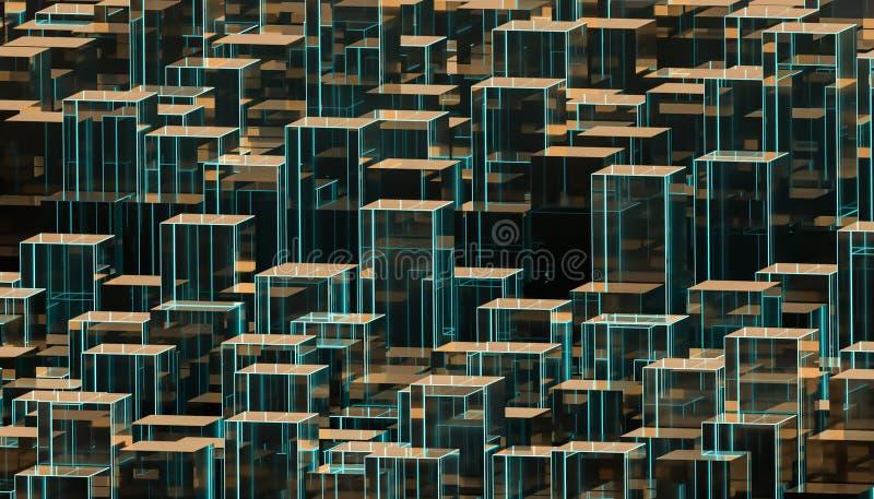 Skyline futurista abstrata ou papel de parede de vidro da arquitetura da cidade 3d rendem a ilustra??o ilustração stock