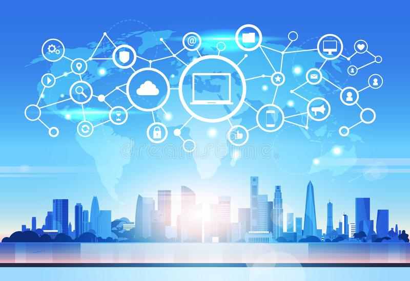 Skyline futurista do conceito da conexão da privacidade de dados da relação da rede da segurança da nuvem do banco de dados do íc ilustração stock