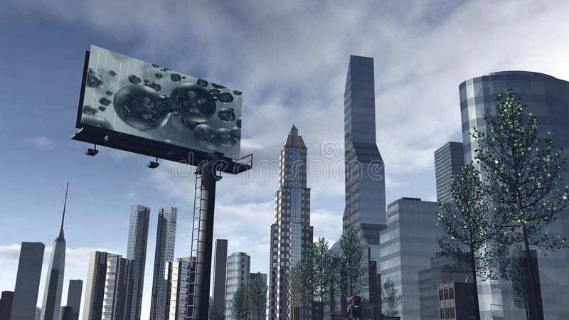 Skyline of a futuristic city with a video screen royalty free stock image