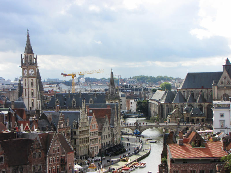 Skyline of Ghent, Belgium stock images