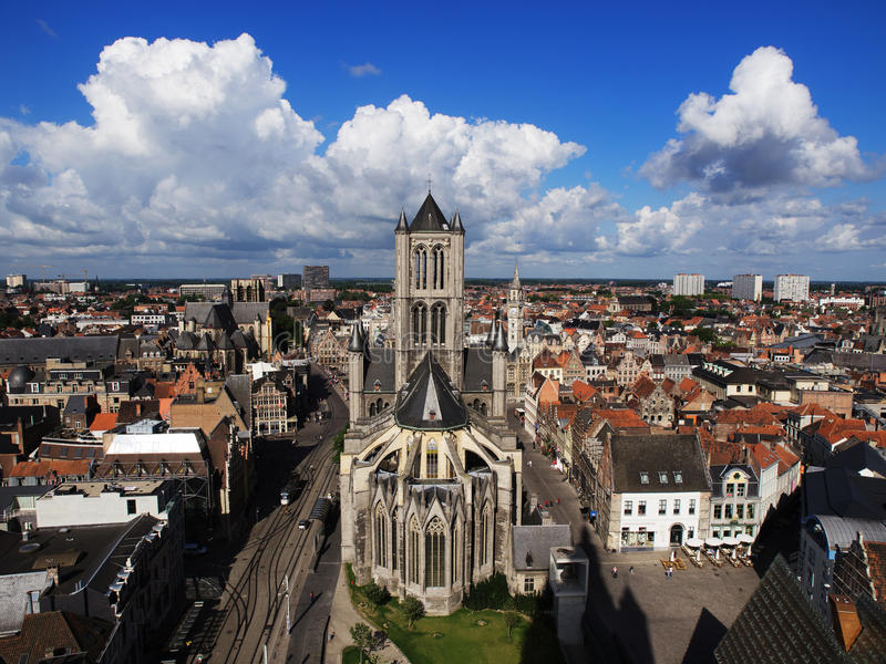 Skyline Of Ghent, Belgium with St. Nicolas Church stock images