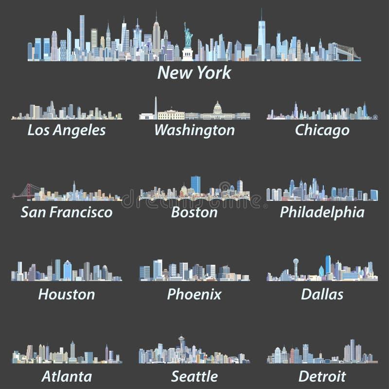 Skyline größter Städte Vereinigter Staaten in den Tönungen der blauen Farbpalette vektor abbildung