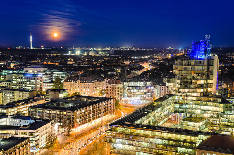 Skyline of Hannover, Germany. The night skyline of Hannover, Germany stock photos