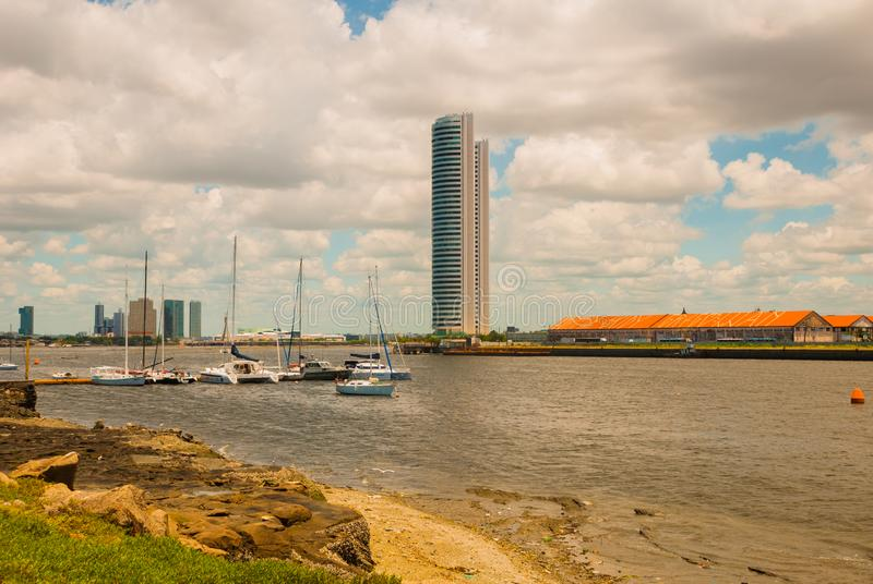 The skyline of the historic city of Recife in Pernambuco, Brazil by the Capibaribe river. Recife, Pernambuco, Brazil royalty free stock photos