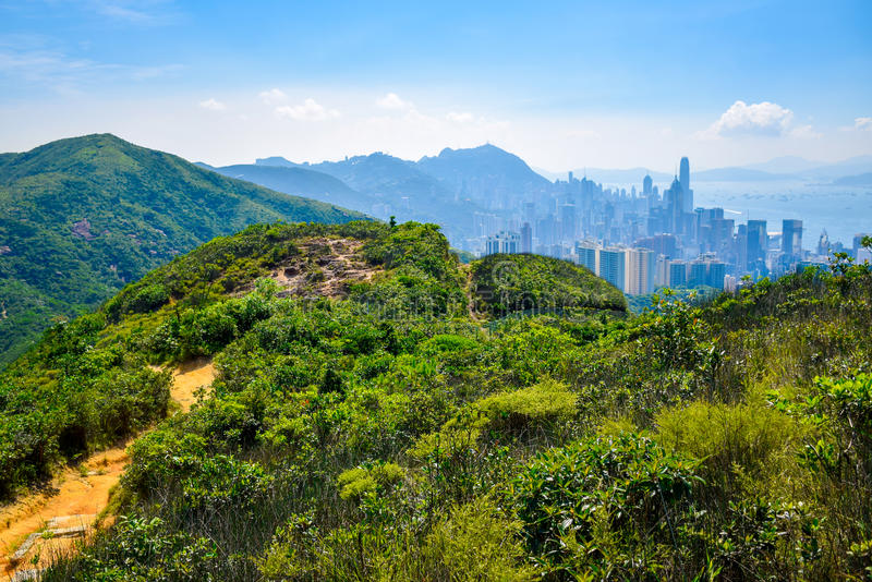 Skyline of Hong Kong as viewed from the mountain. Where is a part of Hong Kong Trail Section 5, Best for hiking royalty free stock photos