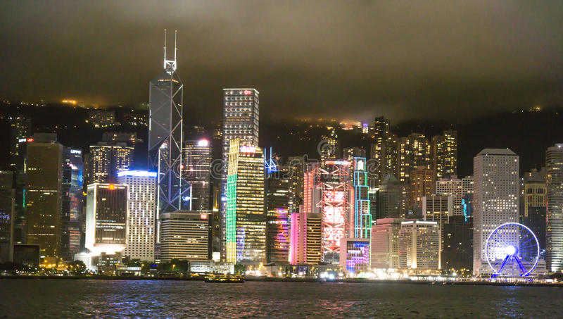 Skyline Hong Kong na noite fotografia de stock royalty free