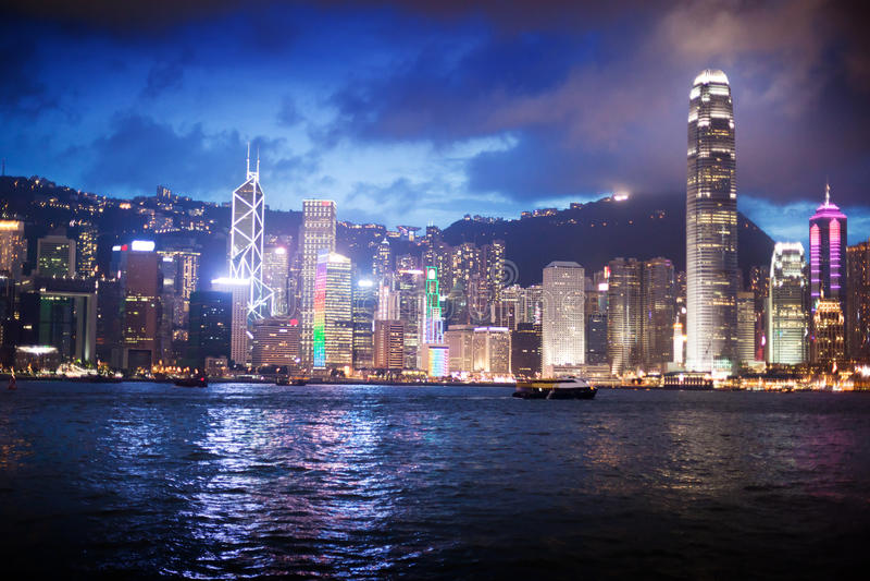 Skyline of Hong Kong stock image