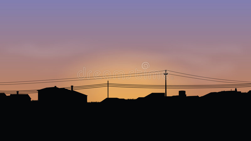 Skyline of houses stock illustration