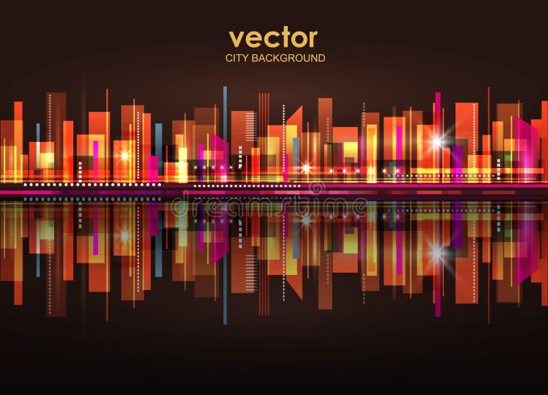 Skyline iluminada da cidade da noite, ilustração do vetor ilustração do vetor