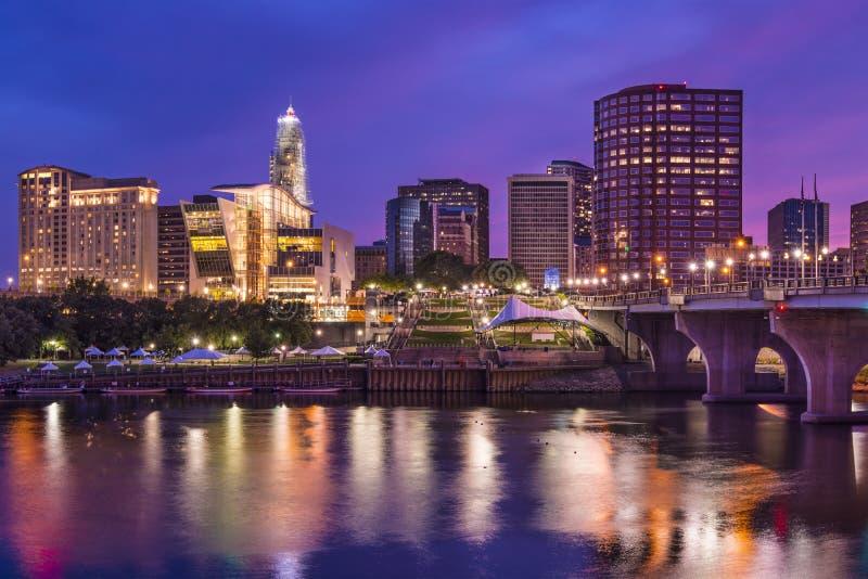 Skyline im Stadtzentrum gelegenen Hartfords, Connecticut stockfotografie