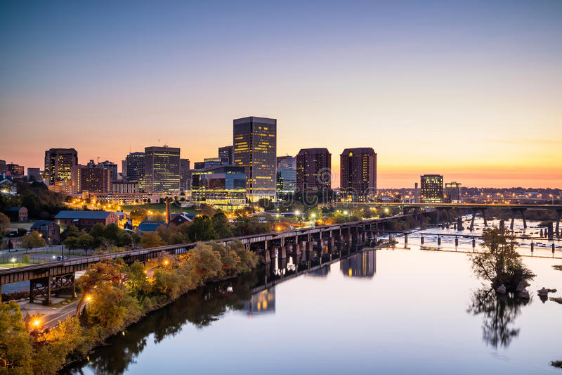 Skyline im Stadtzentrum gelegenen Richmonds, Virginia stockfoto