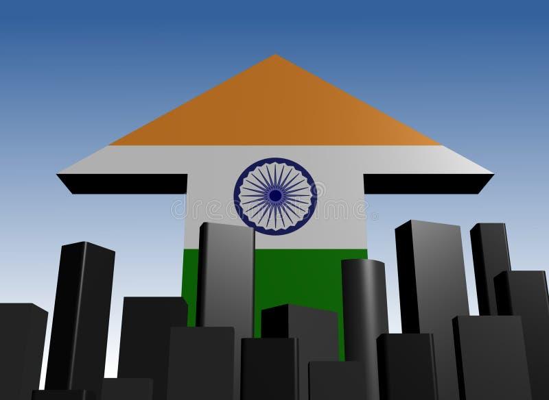 Skyline and India flag arrow stock illustration