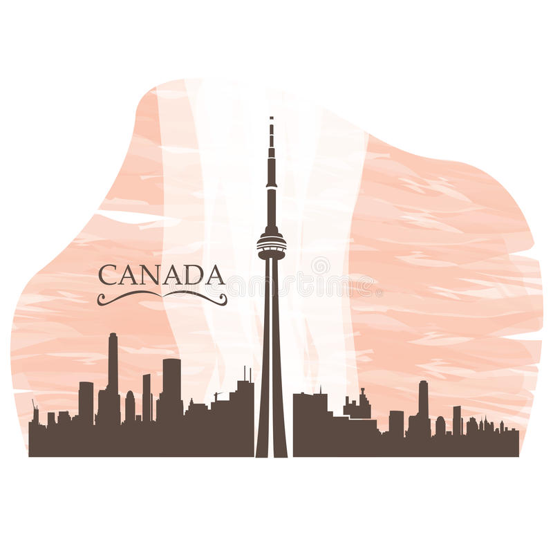 Skyline. Isolated skyline of Toronto on a colored background royalty free illustration