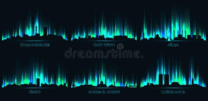 Skyline Joanesburgo, Cape Town, Abuja, o Cairo, Sharm el Sheikh, Casablanca ilustração stock