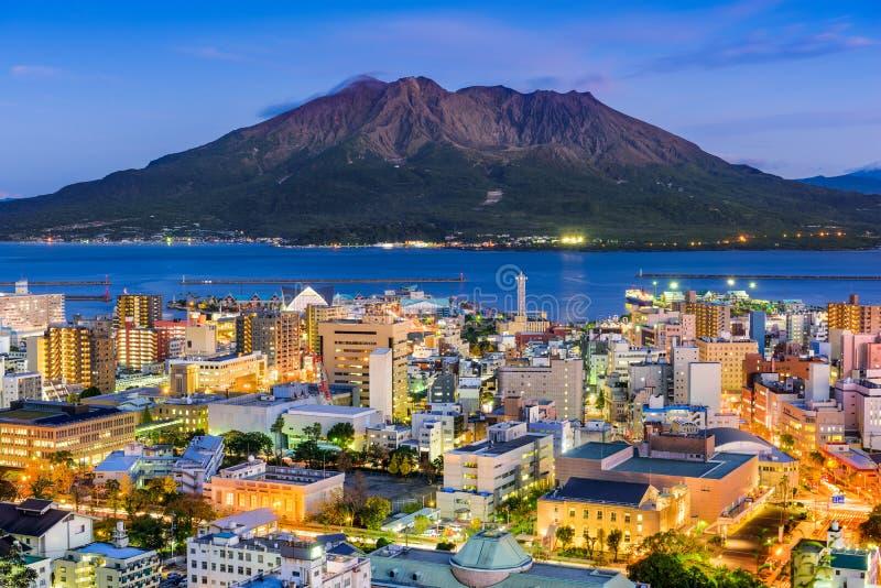 Skyline Kagoshimas, Japan lizenzfreies stockfoto