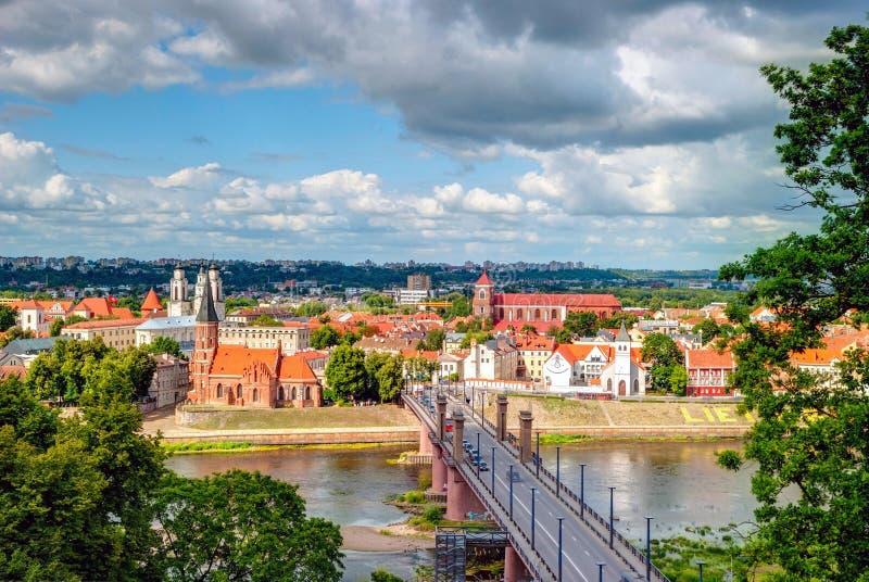 Skyline of Kaunas, Lithuania. Skyline of Kaunas city with river and bridge, Lithuania stock images