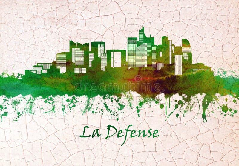 La Defense skyline. Skyline of La Defense, a major business district located three kilometers west of the city limits of Paris vector illustration